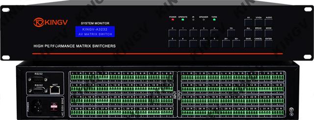是专门对立体声音频信号进行切换和分配,输出带任何路分配功能,可将多路音频输入信号任意选择一路输出,也可将一路音频输入信号任意选择一路输出或多路同时输出。 音频矩阵32进32出的特点: 1. 32路音频输入, 32路音频输出,可完全交叉切换。 2. 32位ARM11内嵌式处理器,静电保护,带也拔插功能。 3.