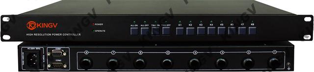 8路电源控制器 型号:KINGV-PC08 电源控制器的功能特点: 1. 采用美国AD工业级CPU芯片,超强抗干扰能力,能通过5KV 快速脉冲干扰(EFT); 2. 专业RS-232地址码开关方式,可以提供一个RS-232接口控制多台继电器,支持最大512台级联; 3. PC软件控制,开放式软件平台,具有设备状态反馈显示功能; 4. 兼容王视和其他中控或第三方控制设备; 5. 8路电源插座或开关组件任意组合; 6. 可控制电动幕、电动吊架、电动窗帘、灯光等; 7. 内置八路进口30A大功率继电器模块,每路