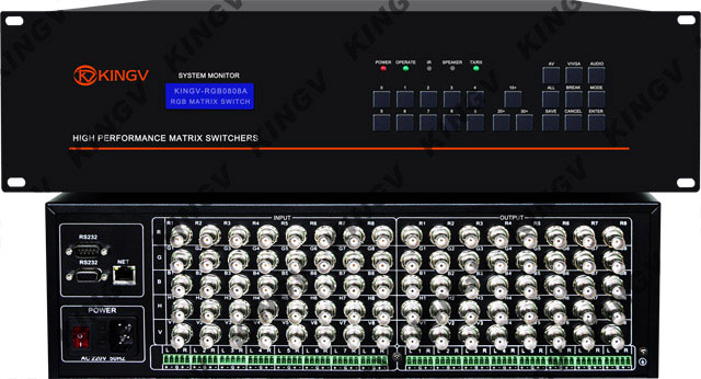 带音频是一款支持8路RGBHV视频信号+立体声音频输入,8路RGBHV视频信号+立体声音频输出的专业矩阵切换设备。 RGB矩阵8进8出带音频 特点: 1. 8路RGBHV信号输入,8路RGBHV信号输出,可以完全交叉切换。 2. 8路音频输入, 8路音频输出,可完全交叉切换,音视频可以同步或异步切换。 3.